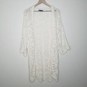 America Eagle Crocheted Open Front Long Cardigan